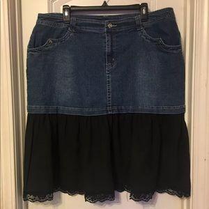 Denim Skirt with Black Ruffled Bottom